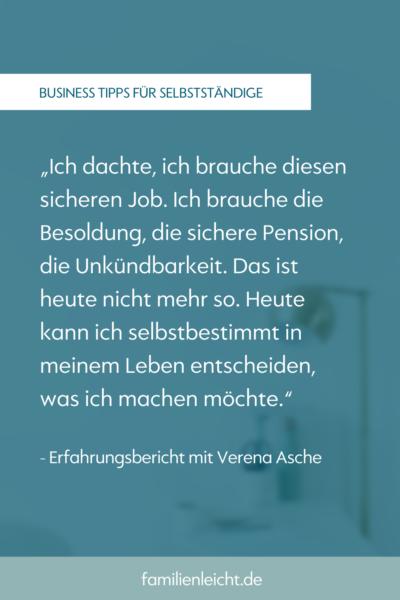 Erfashrungsbericht mit Verena Asche